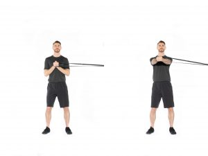Resistance band twisitng exercise for bak pain